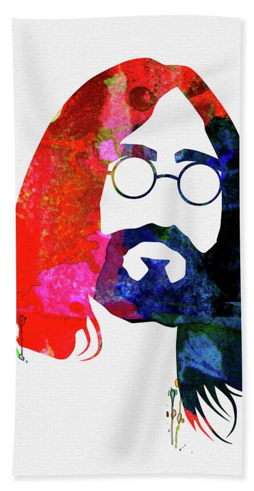 John Lennon Bath Towel featuring the mixed media John Watercolor by Naxart Studio