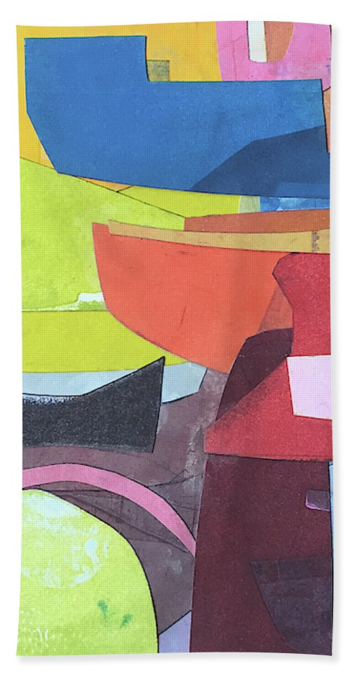 Abstract Bath Towel featuring the painting Journeyman's Papers Vi by Rob Delamater