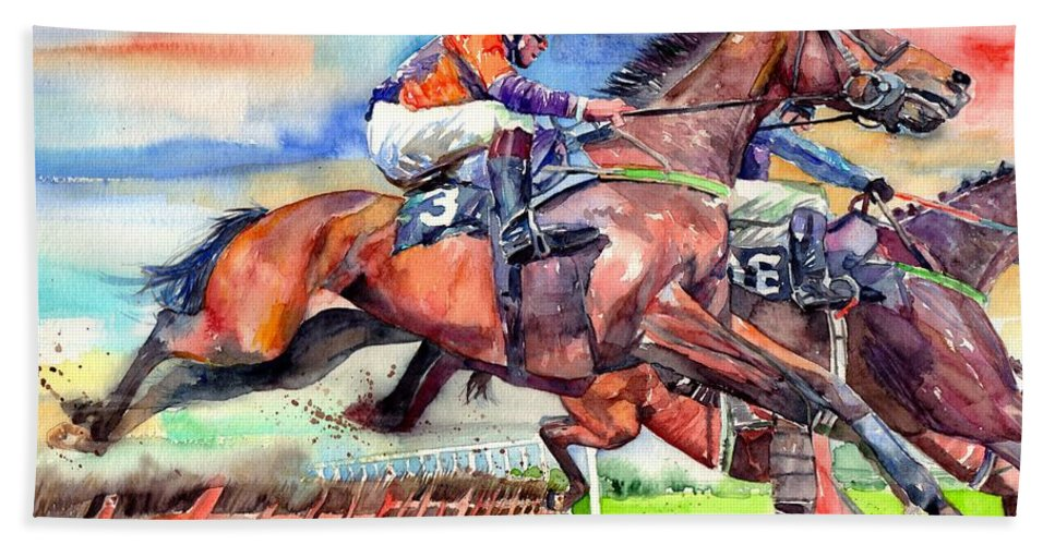 Horse Hand Towel featuring the painting Jump Racing by Suzann Sines