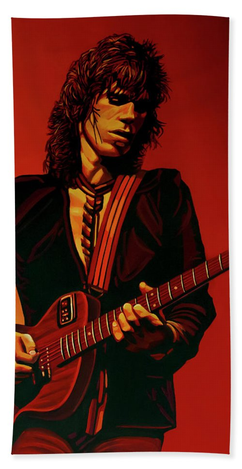 Keith Richards Bath Towel featuring the painting Keith Richards 3 by Paul Meijering