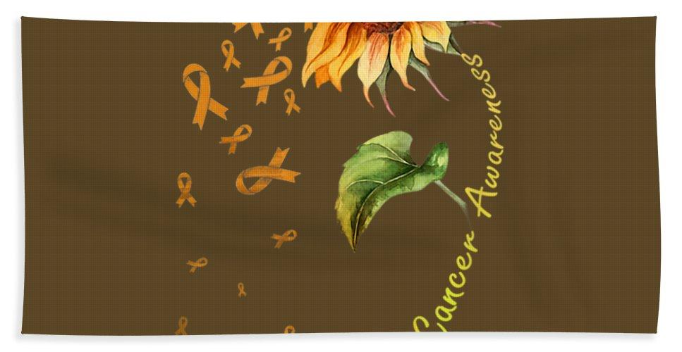 girls' Novelty T-shirts Bath Towel featuring the digital art Kidney Cancer Awareness Sunflower Shirt by Do David