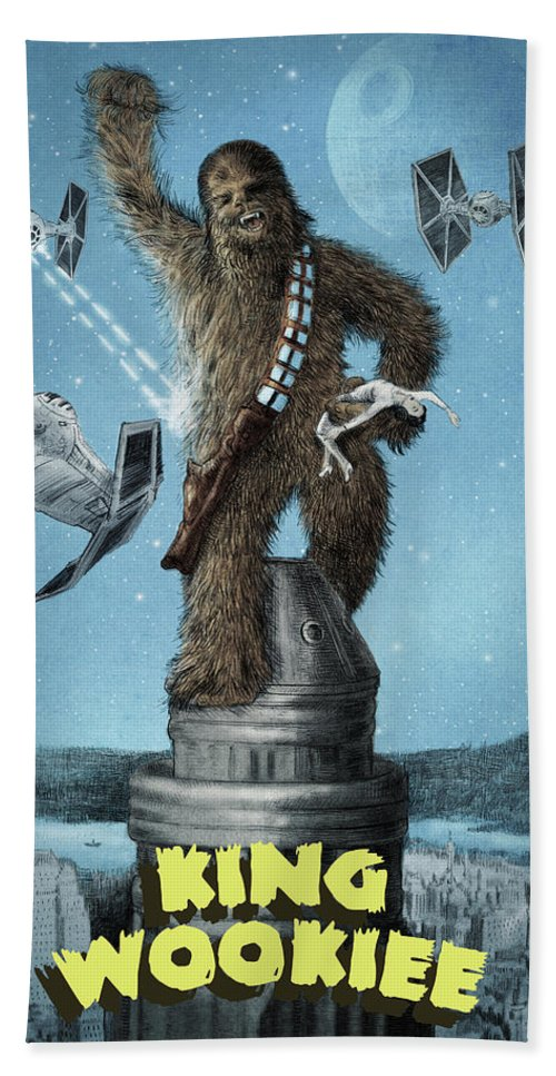 King Kong Bath Towel featuring the drawing King Wookiee by Eric Fan