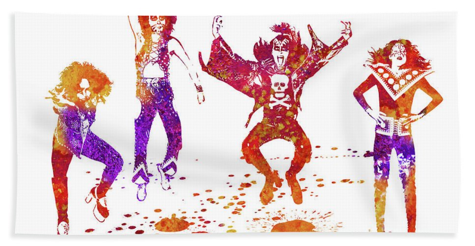 Kiss Bath Towel featuring the painting Kiss Band Watercolor Splatter 01 by JESP Art and Decor