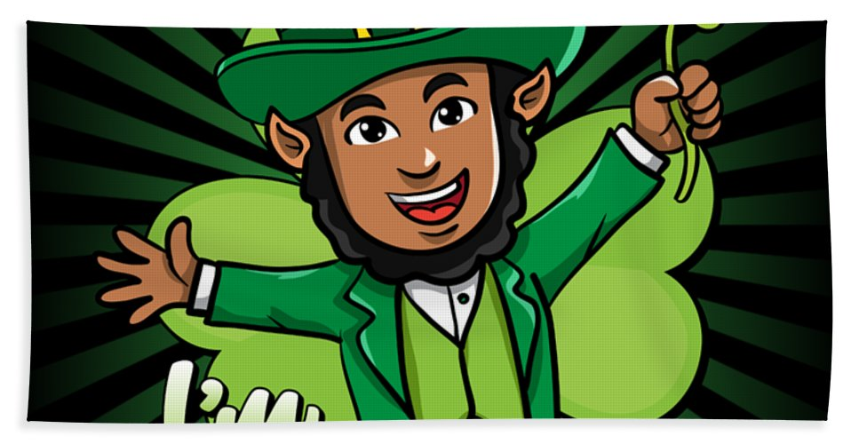 Kiss-me-im-brownish Bath Towel featuring the digital art Kiss Me Im Brownish Black Leprechaun St Patricks Day by Flippin Sweet Gear