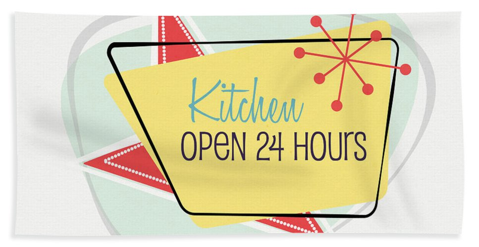 Kitchen Hand Towel featuring the digital art Kitchen Open 24 Hours- Art By Linda Woods by Linda Woods