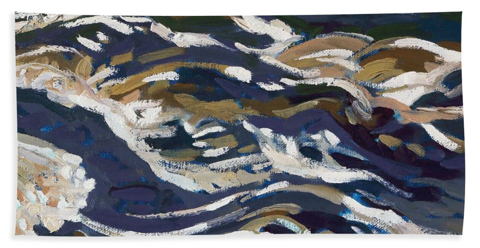 2163 Bath Towel featuring the painting La Chute Dumoine Cataracts by Phil Chadwick