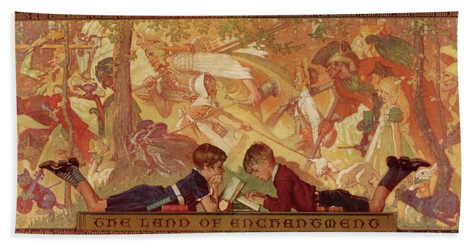 Books Bath Towel featuring the drawing Land Of Enchantment by Norman Rockwell