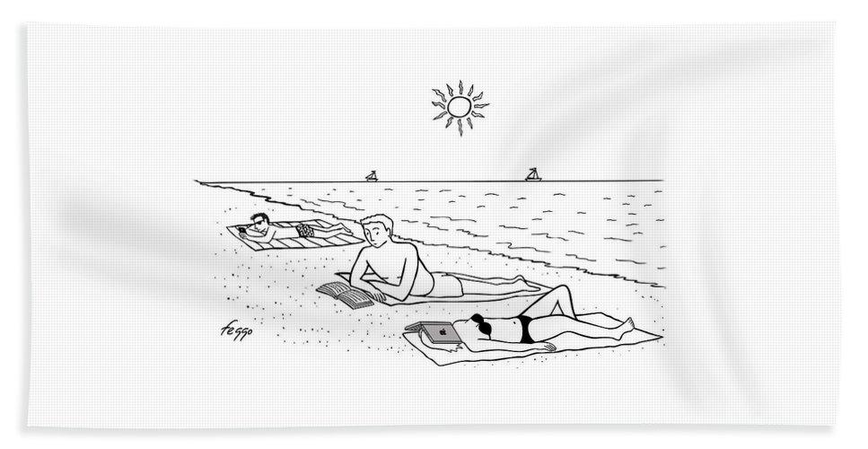 Laptop at the Beach Bath Sheet