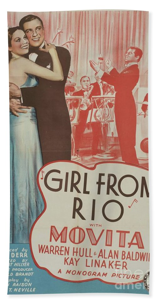 Girl Bath Towel featuring the mixed media lassic Movie Poster - Girl From Rio by Esoterica Art Agency