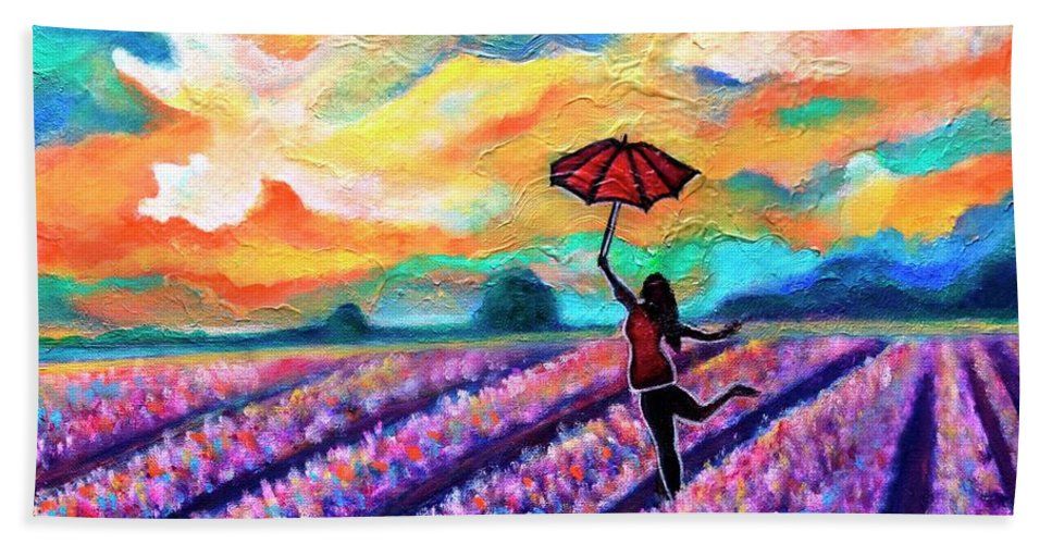 Lavenderfield Bath Towel featuring the painting Lavender Field walk-Girl with umbrella by Manjiri Kanvinde