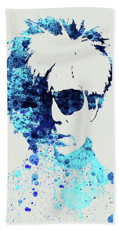 Andy Warhol Hand Towel featuring the mixed media Legendary Andy Warhol Watercolor by Naxart Studio