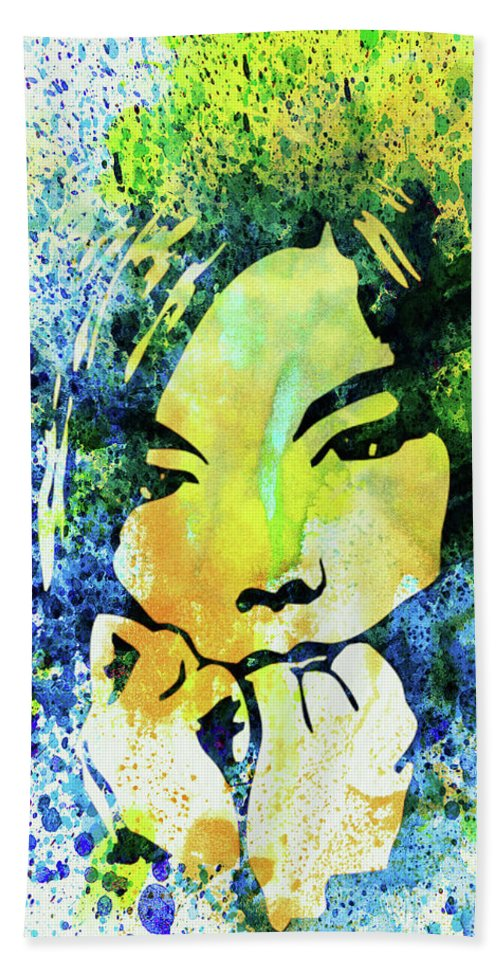 Bjork Hand Towel featuring the mixed media Legendary Bjork Watercolor II by Naxart Studio