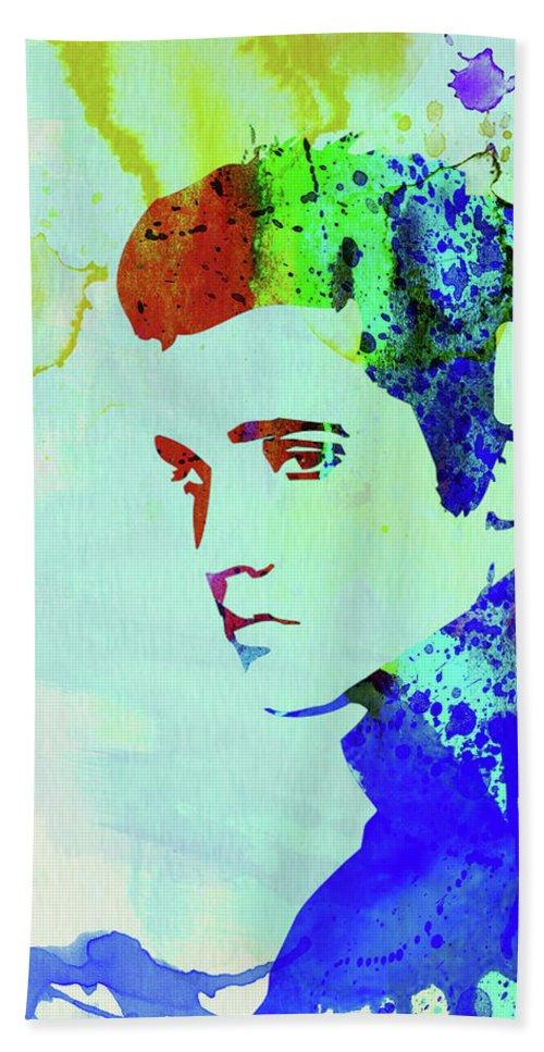 Elvis Presley Hand Towel featuring the mixed media Legendary Elvis Watercolor I by Naxart Studio