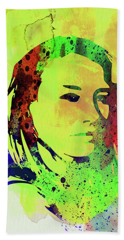 Tori Amos Hand Towel featuring the mixed media Legendary Tori Amos Watercolor by Naxart Studio