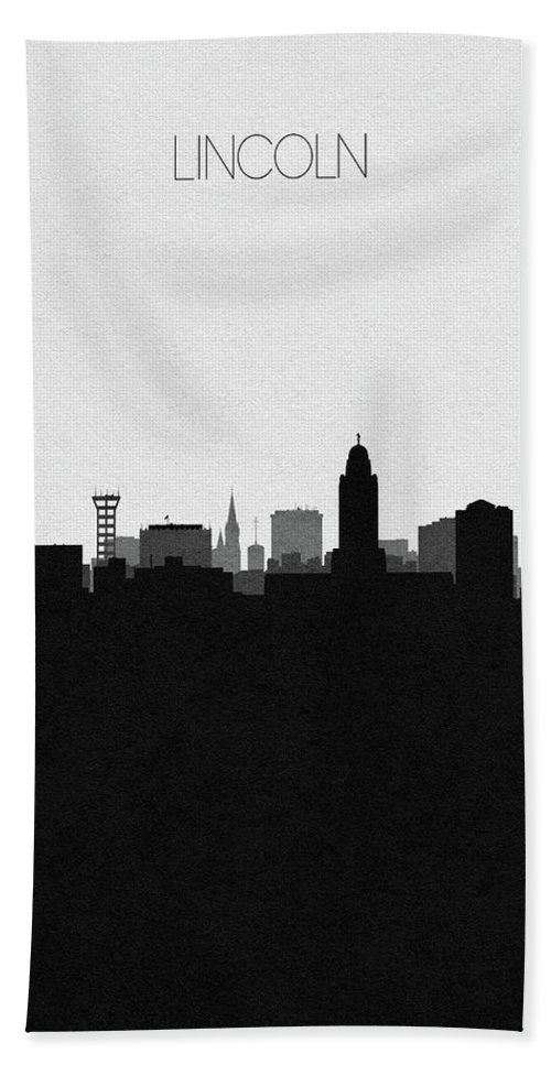 Lincoln Bath Towel featuring the digital art Lincoln Cityscape Art by Inspirowl Design