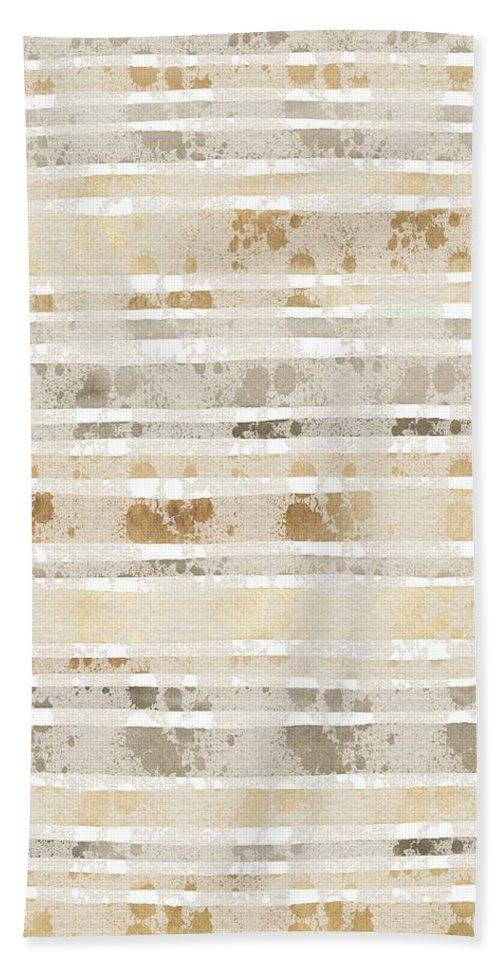 Amanda Lakey Bath Towel featuring the mixed media Linear Lines Sandy Pattern by Amanda Lakey