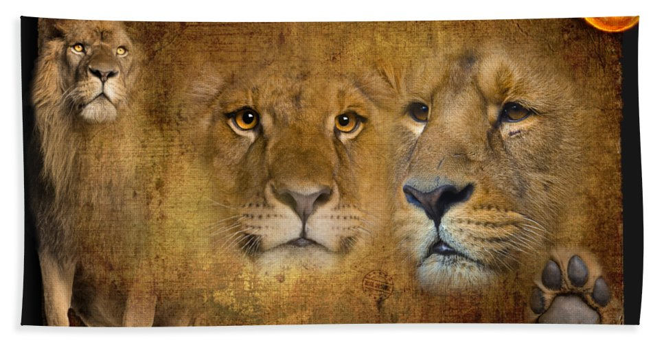 Lion Bath Sheet featuring the digital art Lions No 02 by iMia dEsigN