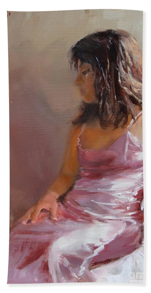 Beautiful Girl Hand Towel featuring the painting Live Model Two by Laura Lee Zanghetti