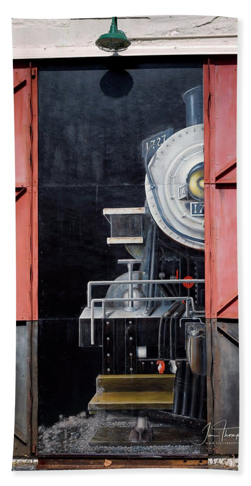 Locomotive Hand Towel featuring the photograph Locomotive In The Shed by Jim Thompson