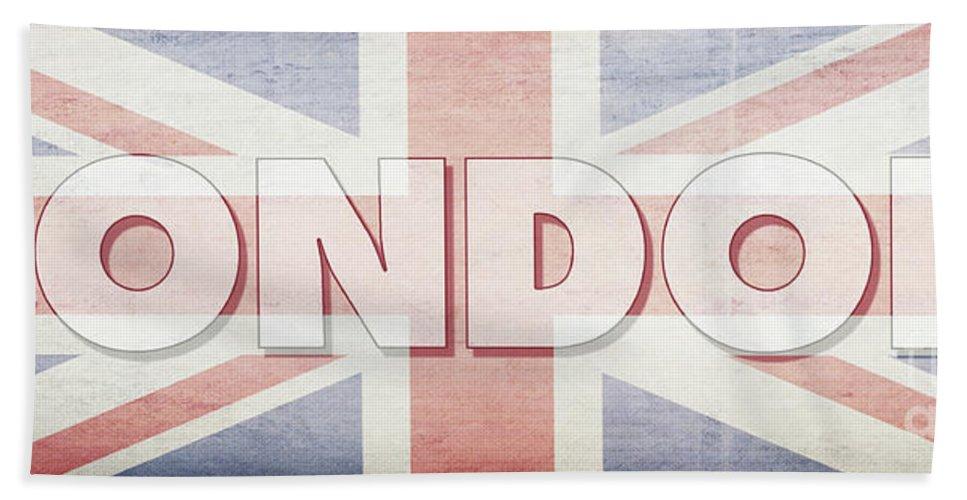 London Bath Towel featuring the digital art London Faded Flag Design by Edward Fielding