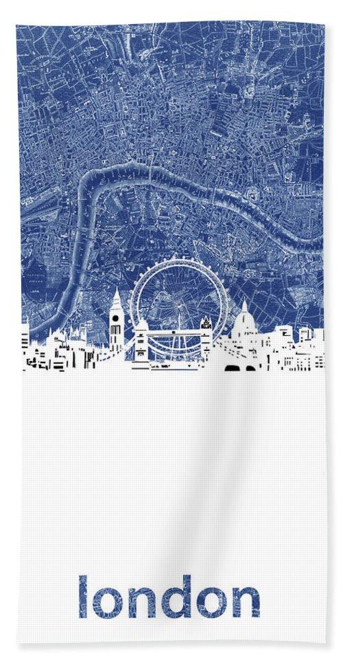London Bath Towel featuring the digital art London Skyline Map Blue by Bekim M
