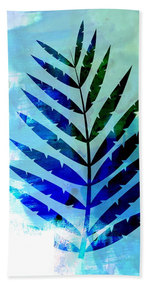 Tropical Leaf Hand Towel featuring the mixed media Lonely Leaf Watercolor by Naxart Studio