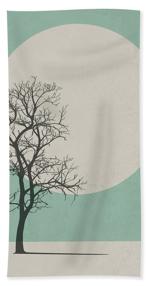 Botanical Hand Towel featuring the digital art Lonely Tree I by Naxart Studio