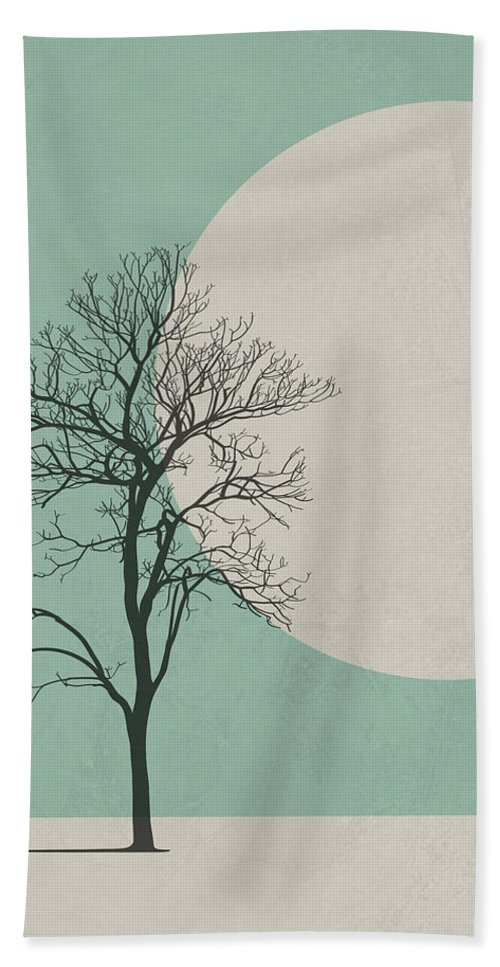 Botanical Bath Towel featuring the digital art Lonely Tree by Naxart Studio