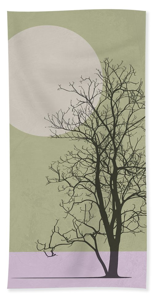 Tree Hand Towel featuring the mixed media Lonely Winter Tree by Naxart Studio