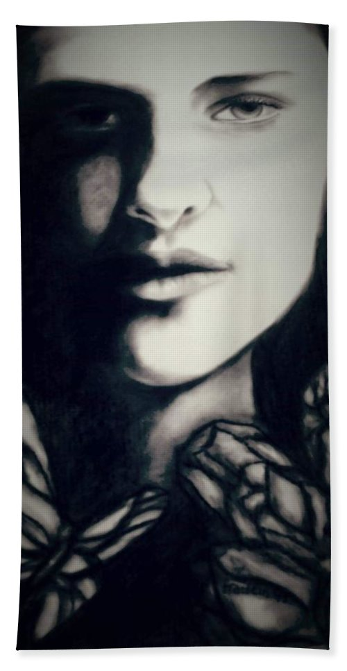 Art Bath Towel featuring the drawing Looking into you by Glory Fraulein Wolfe
