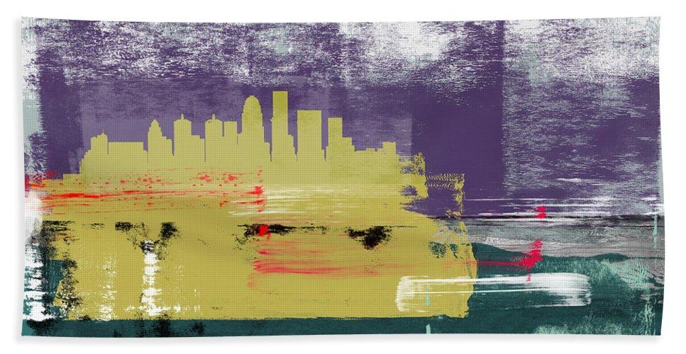 Louisville Hand Towel featuring the mixed media Louisville Abstract Skyline II by Naxart Studio