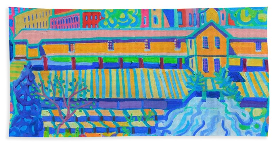 Locks Bath Sheet featuring the painting Lower Locks Lowell by Debra Bretton Robinson