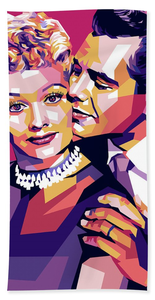 Lucille Bath Towel featuring the digital art Lucille Ball And Desi Arnaz by Stars on Art