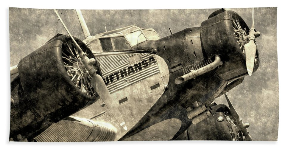 Ww2 Vintage Photo Hand Towel featuring the photograph Lufthansa Junkers Ju 52 Vintage by David Pyatt