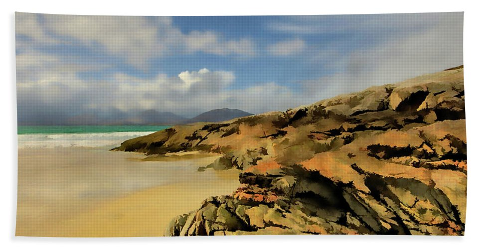 Luskentyre Beach Hand Towel featuring the mixed media Luskentyre Digital Painting by Smart Aviation
