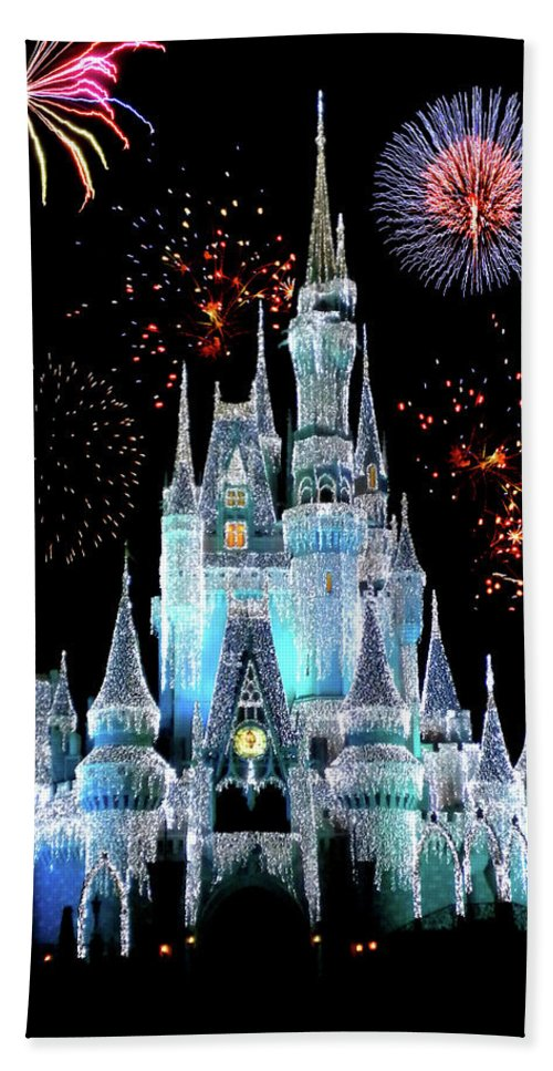 Castle Bath Towel featuring the photograph Magic Kingdom Castle In Frosty Light Blue With Fireworks 06 by Thomas Woolworth
