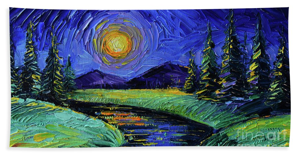 Magic Night Hand Towel featuring the painting Magic Night - Detail 1 - Fantasy Landscape by Mona Edulesco