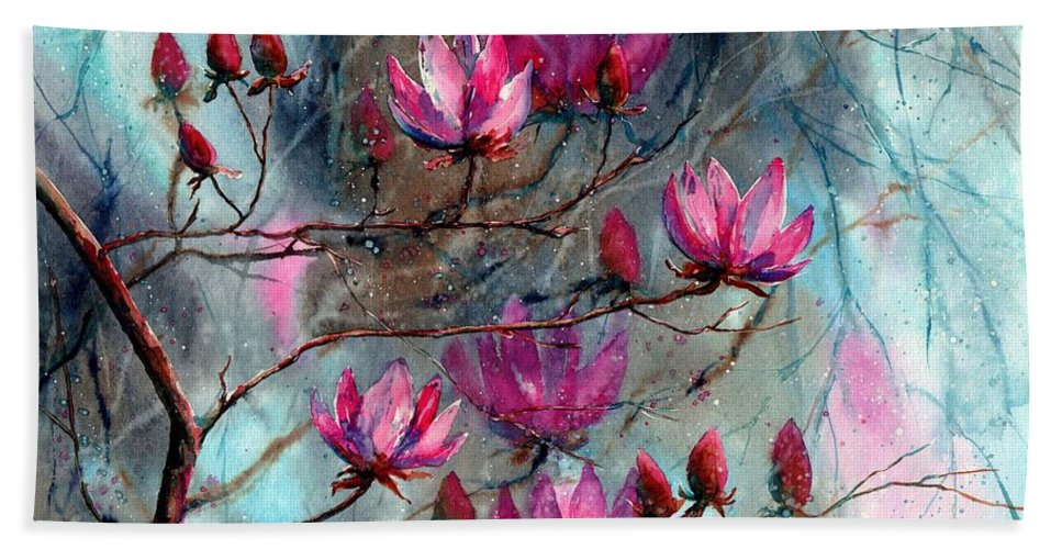 Night Bath Towel featuring the painting Magnolia At Midnight by Suzann Sines