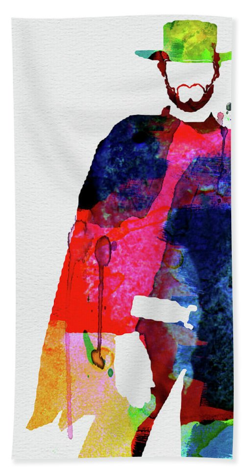Movies Bath Towel featuring the mixed media Man With No Name Watercolor by Naxart Studio