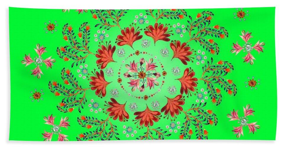 Mandala Hand Towel featuring the digital art Mandala Flowering Series#3. Green by Elena Kotliarker