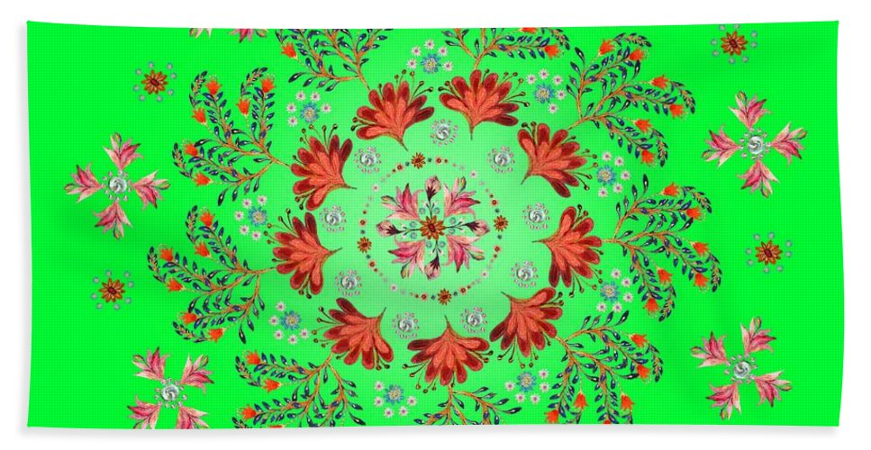 Mandala Bath Towel featuring the digital art Mandala Flowering Series#3. Green by Elena Kotliarker