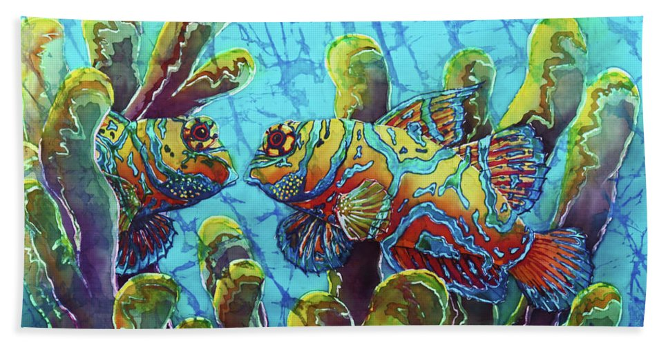 Mandarinfish Bath Towel featuring the painting Mandarinfish by Sue Duda
