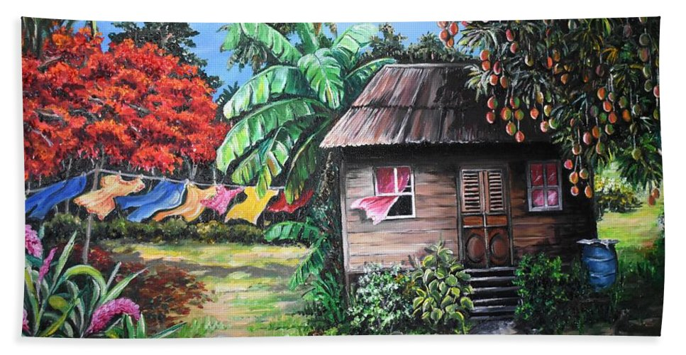 Old House Bath Towel featuring the painting Mango Season by Karin Dawn Kelshall- Best