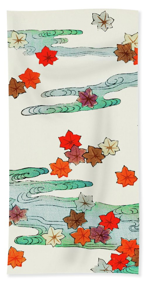 Watanabe Seitei Bath Towel featuring the painting Maple Leaf - Japanese Traditional Pattern Design by Watanabe Seitei