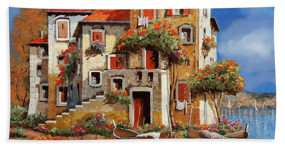 Houses By The Sea Hand Towel featuring the painting Mareblu-tetti Rossi by Guido Borelli