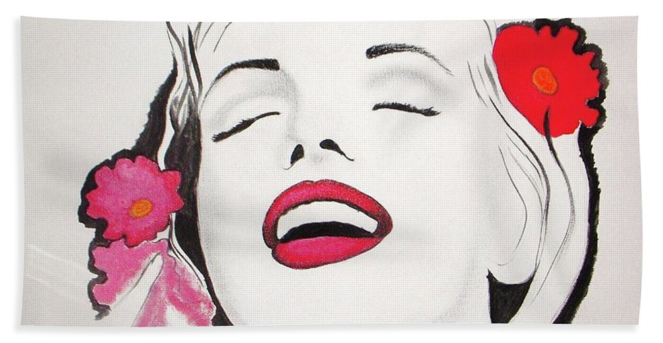 Marilyn Monroe Bath Sheet featuring the painting Marilyn Monroe by Vesna Antic