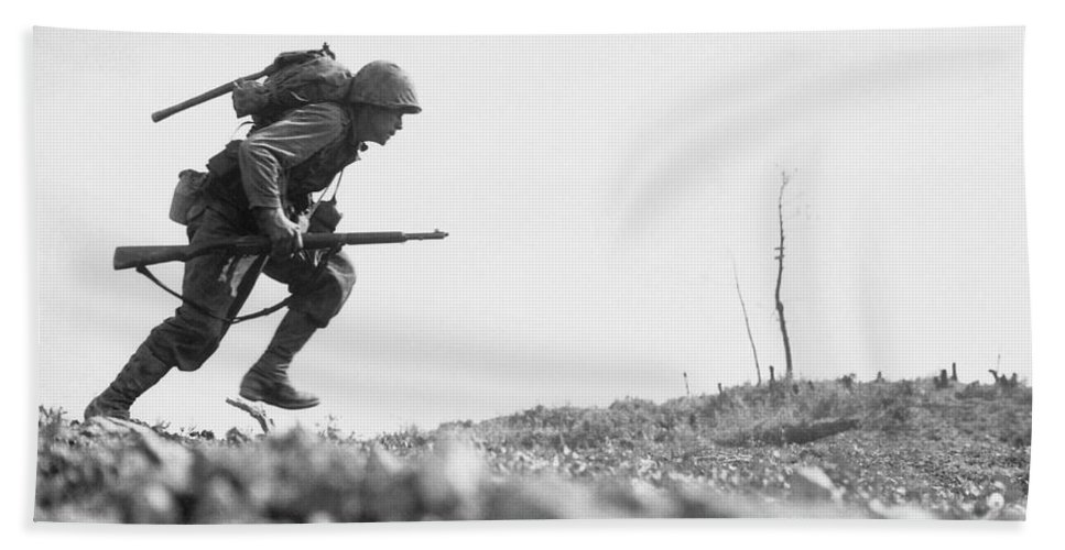 Marine Bath Towel featuring the photograph Marine Dash On Okinawa by War Is Hell Store