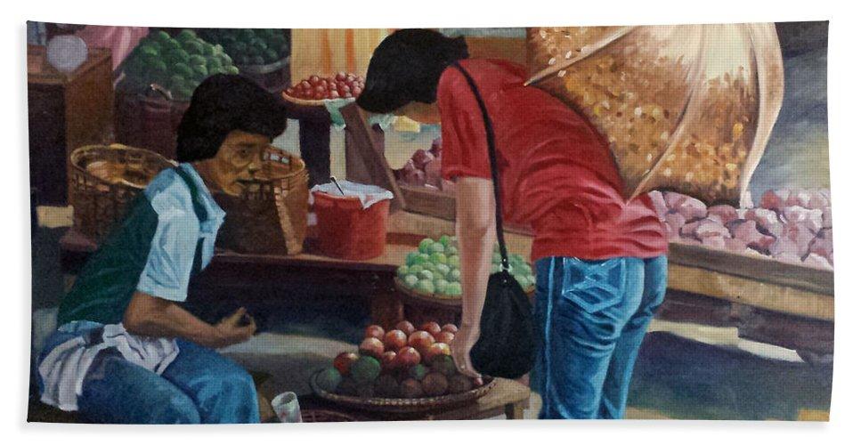 Divisoria Bath Sheet featuring the painting Market Scene Divisoria by Edwin Villavera
