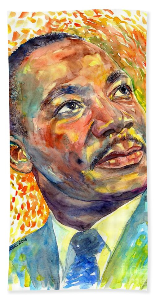 Martin Luther King Jr Bath Towel featuring the painting Martin Luther King Jr Portrait by Suzann Sines