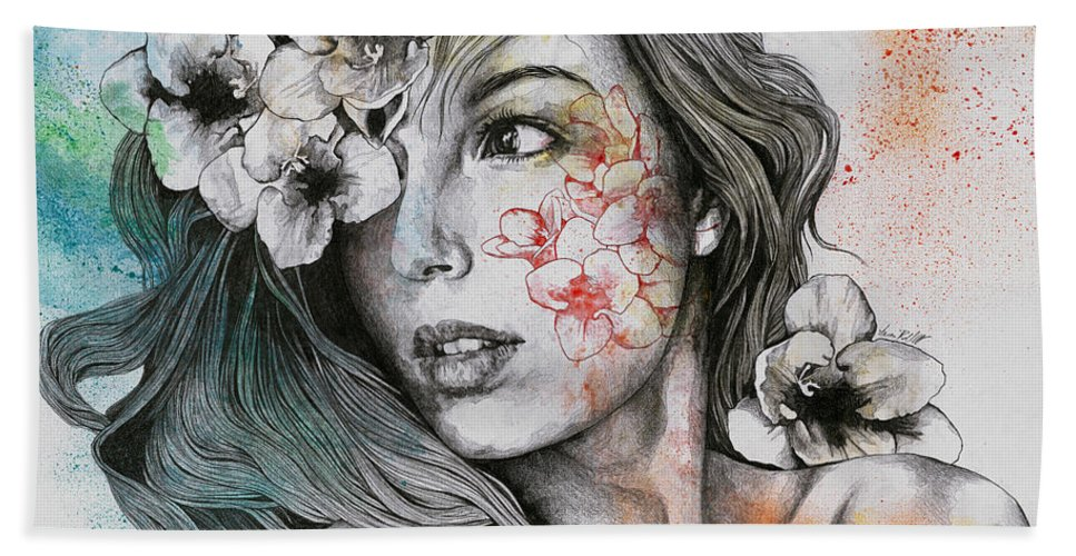 Portrait Hand Towel featuring the drawing Mascara - Expressive Female Portrait With Freesias by Marco Paludet